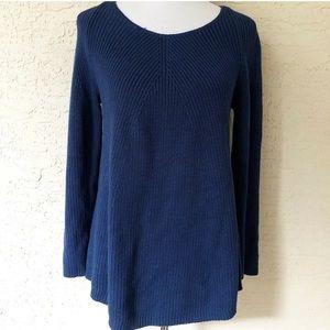 J Jill Sweater Womens XS Blue Ribbed Long Sleeve
